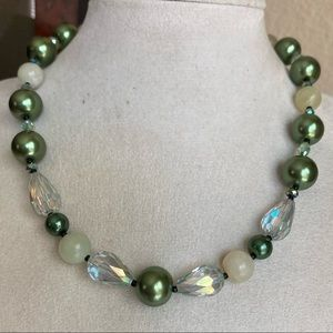 Crystal & Faux Pearl Choker Necklace